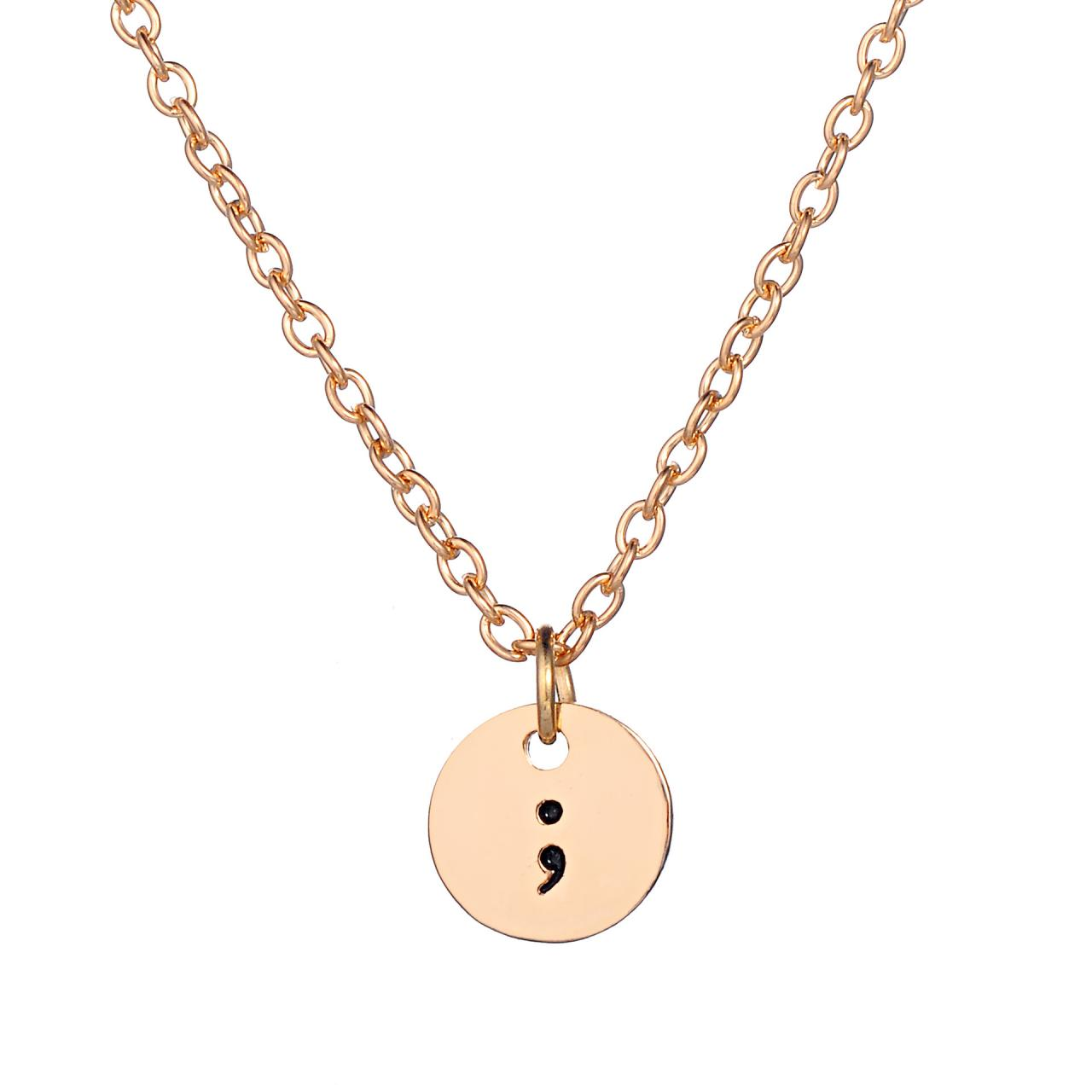 Simple fashion semicolon necklace pendant