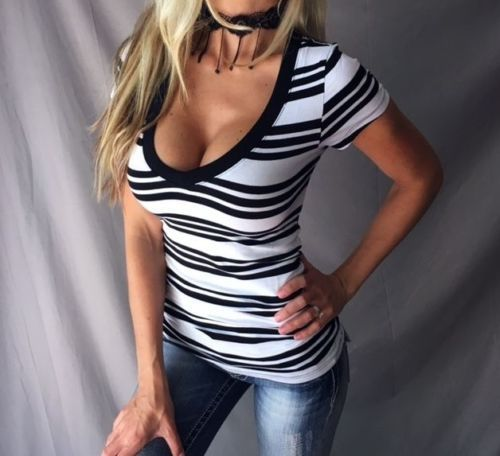 Fashion Set Head Stripe Short Sleeve T-shirt