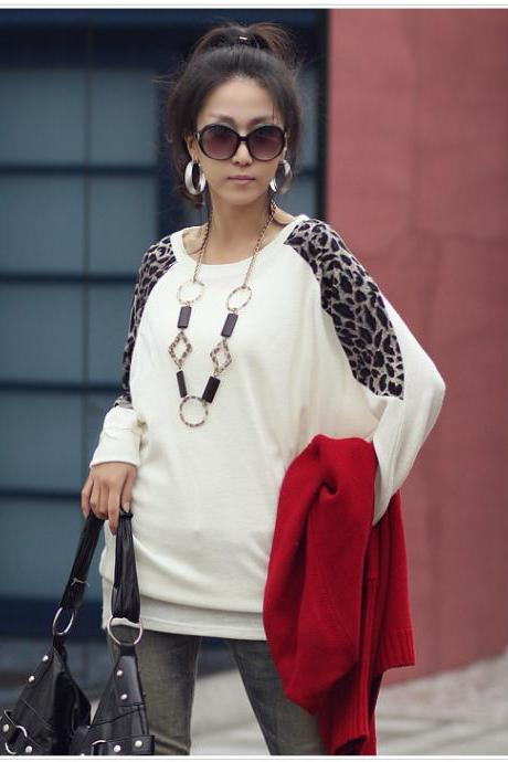 Leopard Grain Together Elegant Warm Long Sleeve Blouse