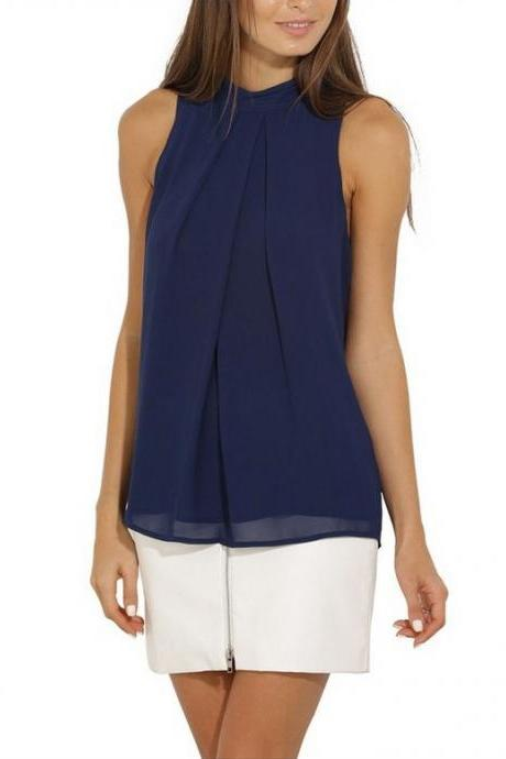 Hang Neck Sleeveless Chiffon Pure Color T-shirt