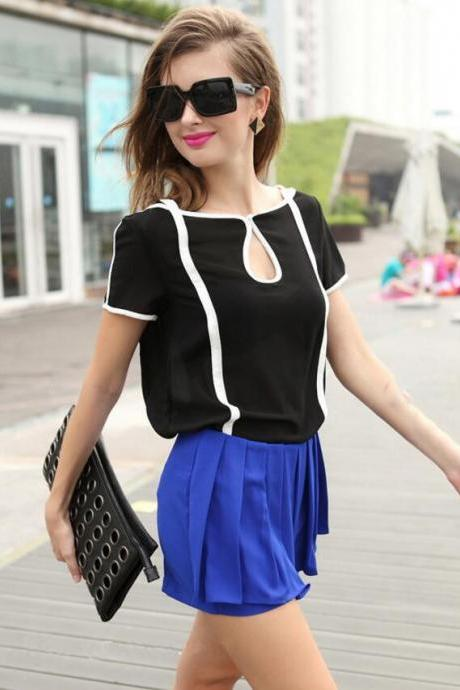 Black And White Contrast Color Fashionable Restore Ancient Ways Chiffon Short Sleeve T-shirt