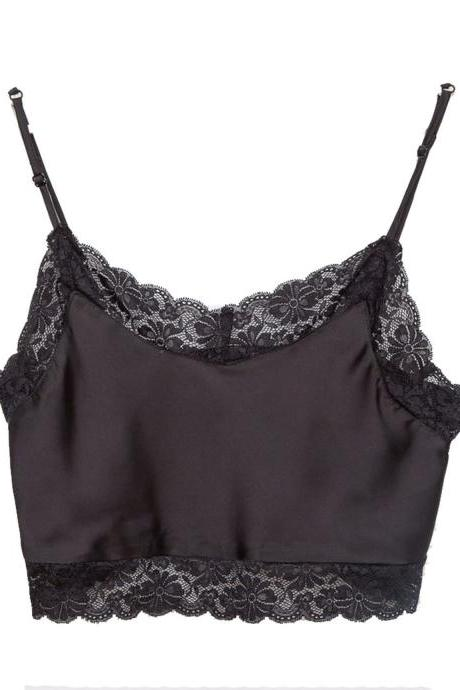 Hot Style Emulation Silk Condole Belt Sexy Lace Crop Top