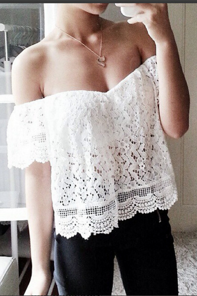 White Lace Off-The-Shoulder Short Sleeves Blouse