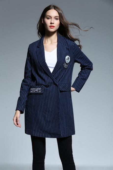 2017 Fashion Stripe Long Sleeve Denim Coat