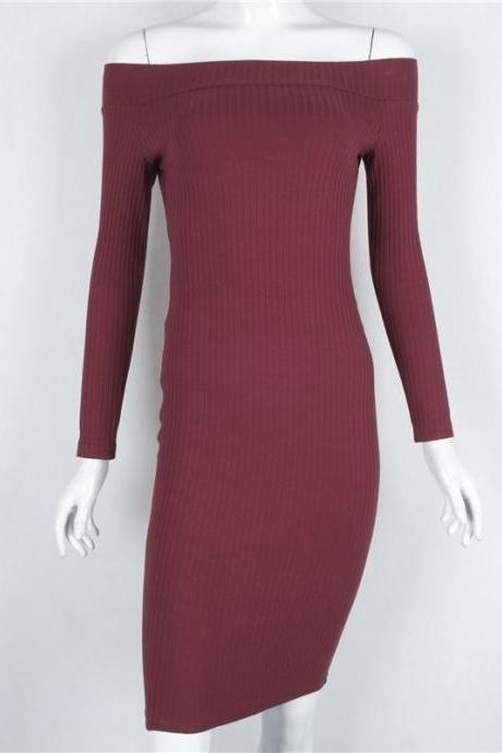 Off Shoulder Long Sleeve Pure Color Dress
