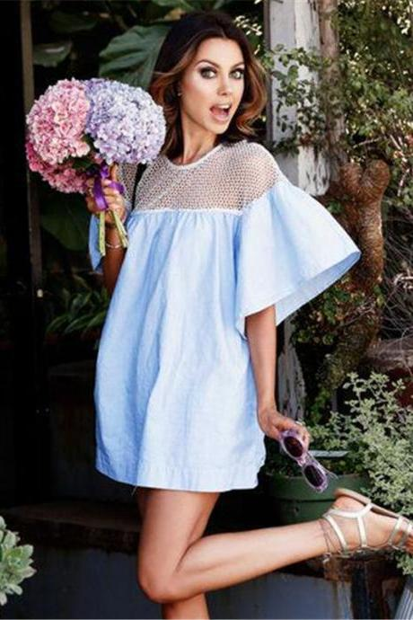 Big Fly Sleeve Hollow Out Together Grid Casual Dress