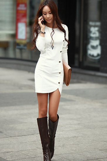 Hot Style Round Collar Long Sleeve Dress