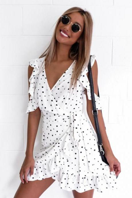 Polka Dots Ruffled Cold Shoulder Chiffon Short Wrap Dress Featuring Plunge V Neckline