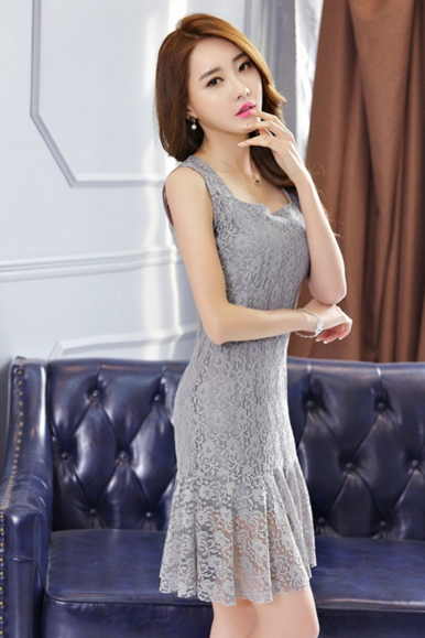 Fashion Temperament Sexy Sleeveless Lace Bodycon Dress