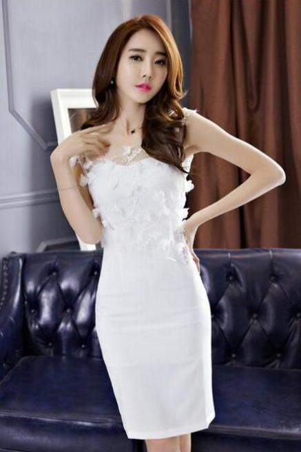 Fashion Sexy Sleeveless Net Yarn Bodycon Dress