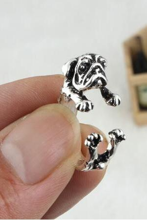 Pug Dog Animal Ring Jewellery - Silver / Black / Bronze