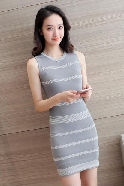 2017 Summer Round Collar Knitting Stripe Short Dress