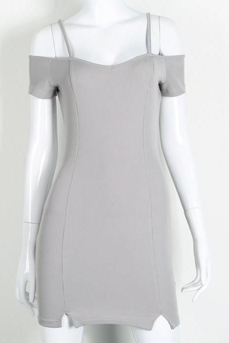 Sexy Off Shoulder Short Sleeve Pure Color Bodycon Dress