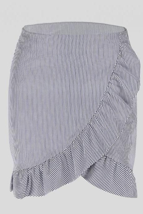 Black White Striped Frilled Short Pencil Skirt