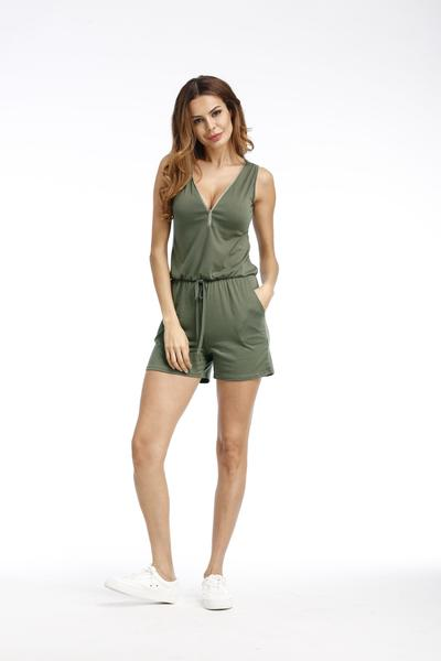 V-neck Pure Color Beach Jumpsuit