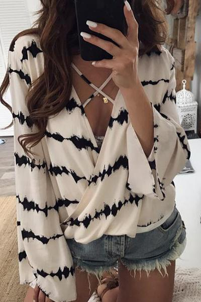 Stripe V-neck Long Trumpet Sleeves Blouse