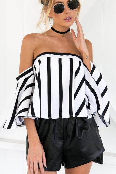 Black White Striped Off-The-Shoulder Flare-Sleeved Top
