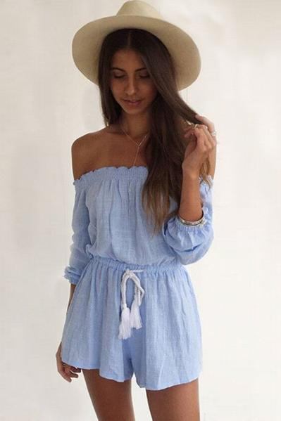 Pure Color Long Sleeves Off Shoulder Short Jumpsuit