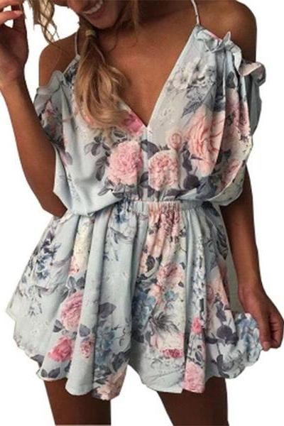 Flower Print Spaghetti Straps Short Sleeves Short Jumpsuit