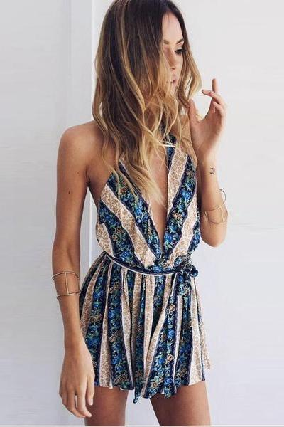 Deep V-neck Halter Print Tassel Short Jumpsuit