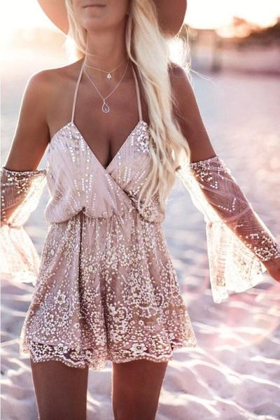 Spaghetti Straps Halter V-neck Shinning Short Beach Jumpsuit