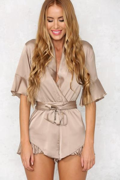 Pure Color V-neck Half Sleeves Straps Short Jumpsuit