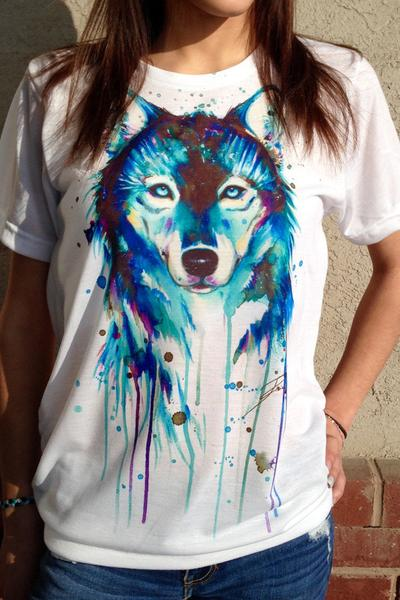 Scoop Wolf Print Short Sleeves T-shirt