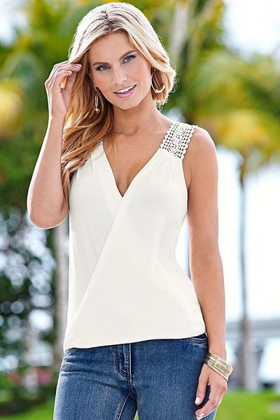 V-neck Pure Color Lace Chiffon Patchwork Regular Tank Top