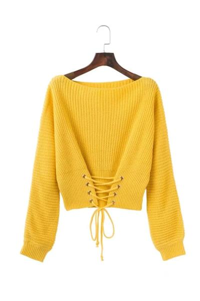 Lace-Up Corset Knitted Long Cuffed Sleeves Sweater Featuring Bateau Neckline