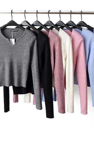 Pure Color V-neck Long Sleeves Short Sweater
