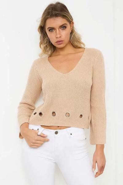 Pure Color Holes Long Sleeves V-neck Regular Sweater