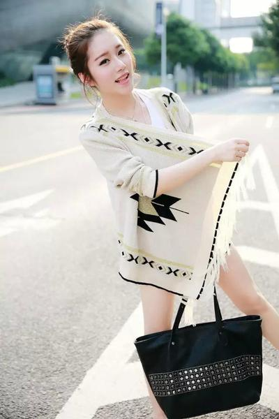 V-neck Pure Color Long Sleeves Geometry Print Cardigan