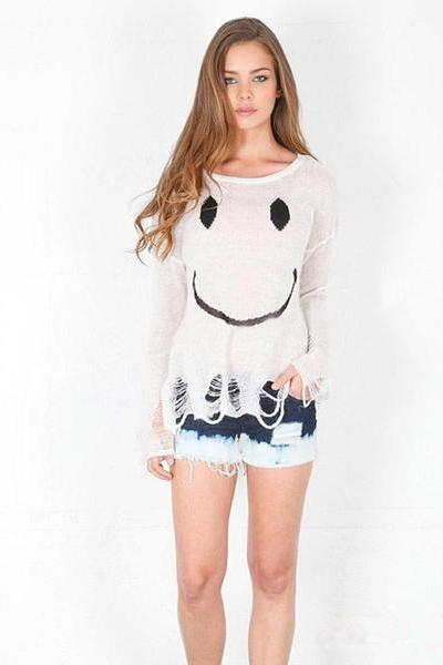 Scoop Smil Face Print Long Sleeves Regular Sweater
