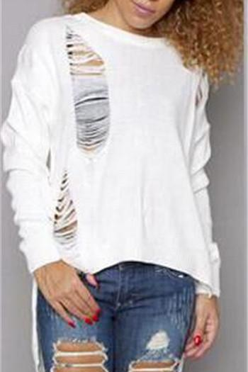 Cut Out Hole Low High Loose Long Sweater