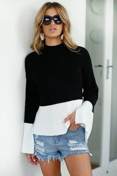 Long Trumpet Sleeves Irregular Patchwork Scoop Sweater