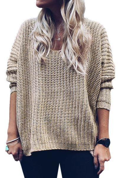 Long Sleeves Pure Color V-neck Irregular Loose Sweater