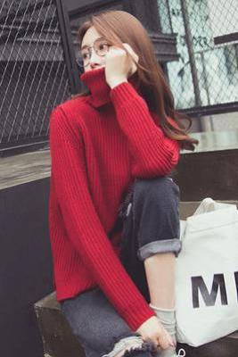 Long Sleeves High Neck Pure Color Regular Sweater