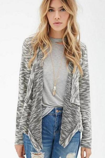 V-neck Long Sleeves Hollow Out Patchwork Regular Cardigan