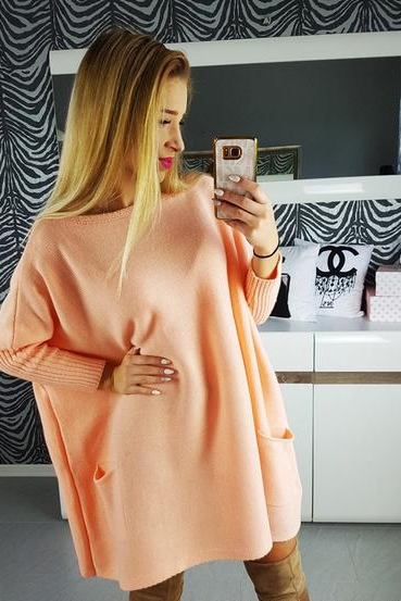 Long Sleeves Pure Color Scoop Long Loose Sweater
