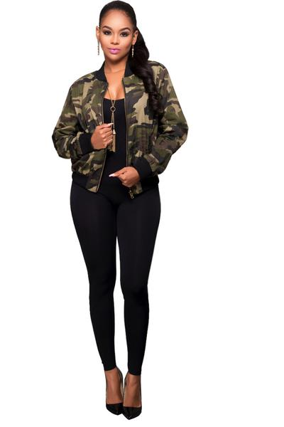 Long Sleeves Camouflage Short Coat