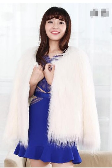 Pure Color Long Sleeve Round Collar Faux Fur Short Coat
