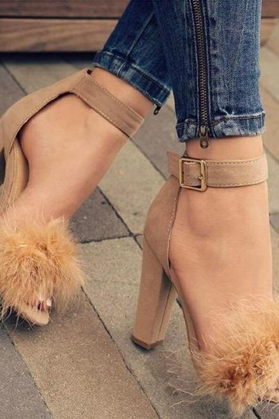 Chunky Heel Peep-toe Fur Decorate Suede Ankle Strap Sandals