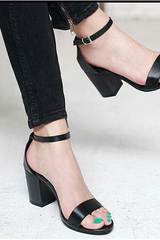 Faux Leather Ankle Strap Chunky Heel Sandals