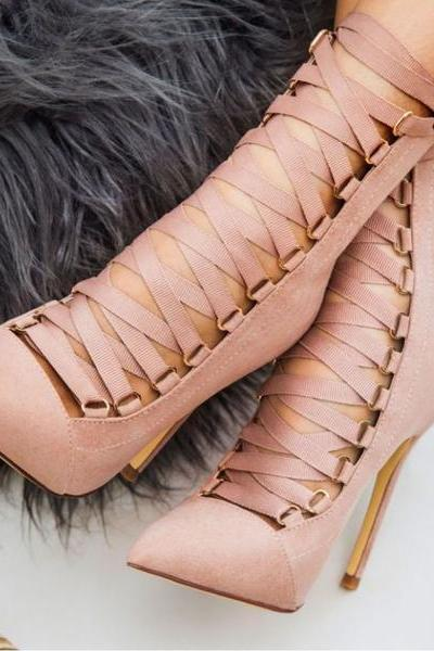Faux Suede Lace-Up Pointed Toe High Heel Ankle Boots