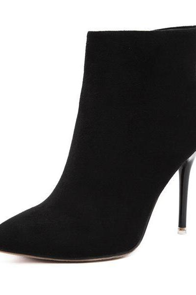 Faux Suede Pointed-Toe High Heel Ankle Boots