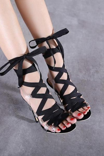 Barely-There Look Transparent Lace-Up Stiletto High Heel