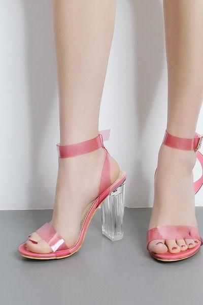 Transparent Open-Toe Buckle Ankle Strap Chunky Heels, High Heels
