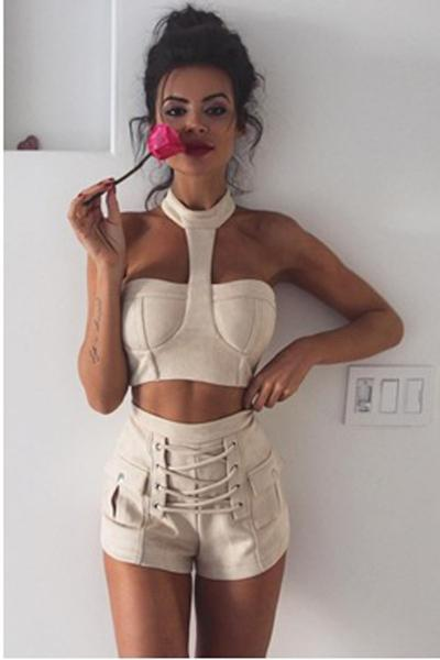 High Waist Pure Color Bandage Slim Shorts