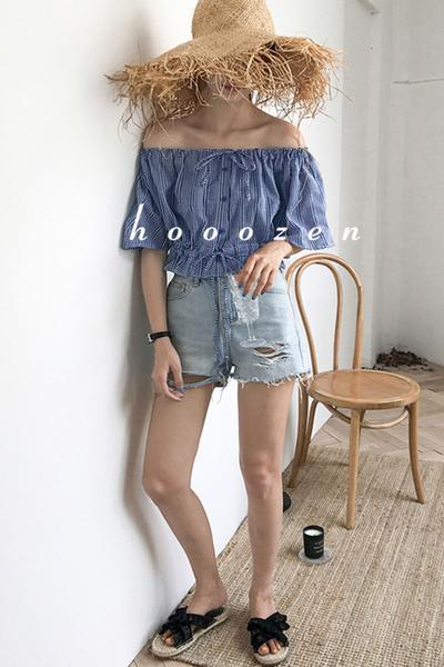 Irregular High Waist Pure Color Holes Denim Shorts