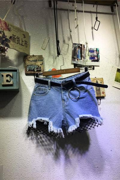 Hole Denim Pure Color Irregular Tassel Shorts